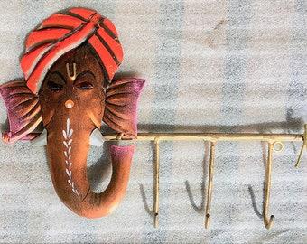 GANESHA Turban KEY HANGER, Hindu God Ganesha Design Key Hook, Elephant God Ganesha Key Holder