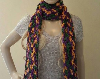 Long crochet scarf, long knitted scarf, organic kettle-dyed  wool, crochet scarf, knit scarf,  purple, green, dark yellow, soft and squishy