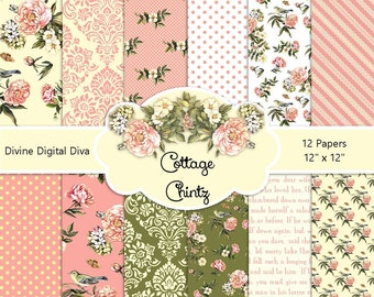 Cottage Chintz Digital Paper Pack | Peach Pink Green Creme Roses | Instant Download