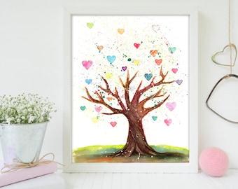 Nursery Art, Heart Tree, Tree Painting, Heart Painting, Art for Kids, Home Decor, Nursery Art Print, Watercolor Painting, Tree Watercolor