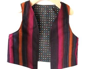 Childs Vest- Size 3T to 4T in Marimekko Autumn Stripe- Reversible