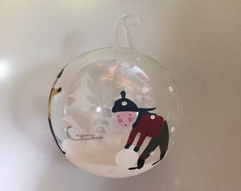 Hand Painted Blown Glass Christmas Ornament