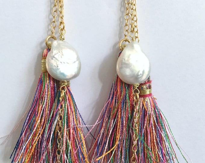 Tassel drop earrings, tassels and pearls golden drop earrings