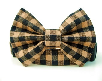 Tan and Black Bow Tie Dog Collar