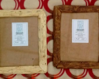 "Rustic/driftwood style frames in locally sourced,recycled hardwood.Medium dark or clear beeswax finish.To fit 7""x9"".Free U.K. shipping"