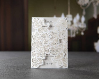 White Extravagant Floral Laser Cut Gate Wedding Invitation, Silk-Screen - BH1680