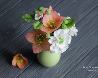 hellebores centerpiece, room flower decore, cold porcelain, artificial flowers, housewarming gift, lenten rose arrangement, scabiosa