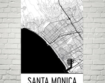 Santa Monica Map, Santa Monica Art, Santa Monica Print, Santa Monica CA Poster, Santa Monica Wall Art, Gift, Map of California, Poster Decor