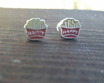 Happy Meal French Fry Earrings - McDonald's fast food jewelry - Eat em up fashion accessories - Halloween Costume