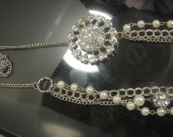 Big 2 Ounce A/B rhinestone Pearl Necklace 1143