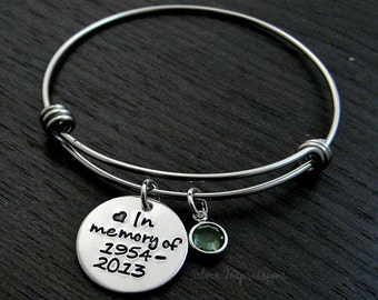 In Loving Memory Wire Bangle / In Memory Of Bangle / Remembrance Bracelet / Hand Stamped Wire Bangle Bracelet