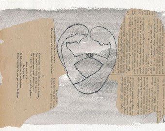 Striving to break reason's doubts - Original mixed media artwork (collage and ink drawing). Engagement gift idea