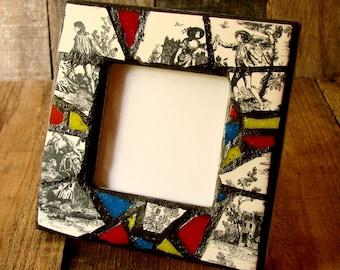 Mosaic Frame - Cottage Chic Mosaic Art - Boho Decor - Original Art Frame - Pottery Shard Mosaic - Black and White Frame with Red Blue Yellow