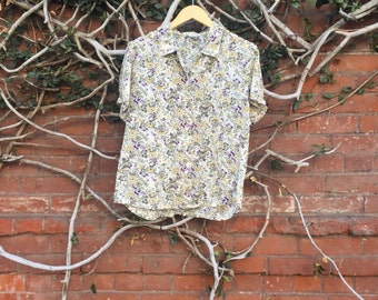 Vintage Floral Button Up Short Sleeve Blouse