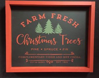 Christmas Tree Sign, Farm Fresh Trees Sign, Christmas Decor, Rustic Christmas, Farmhouse Christmas