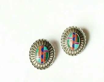 Vintage sterling silver earrings studs concho inlay turquoise coral malachite Native American