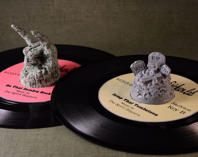 Creepy  45  RPM Record adapter  2pc Set Cemetery and Zombie Rocker