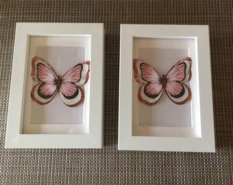 Pair Framed Pink Butterflies