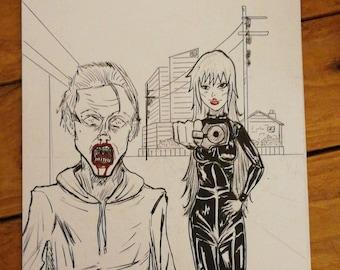 Original zombie comic artwork print