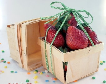 Wood Berry Baskets - Pint Size set of 6
