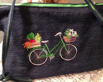 Denim bag, embroidered green bike, repurposed denim, 8*12, cross-body bag, lining green white, zip pocket, inside pockets, zip close