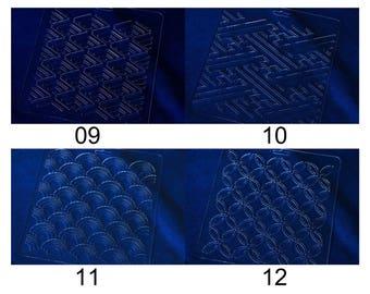 Acrylic Stencil for Sashiko | Collection 09-12 - Sashiko Stencil Quilting Stencil - Patchwork Sashiko Embroidery Pattern - Indigo boro style