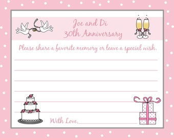 60  Personalized Wedding Anniversary Memory and Wishes Cards