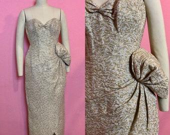 Vintage 1950s Dress - Gold Lurex Brocade Strapless Gown - S M