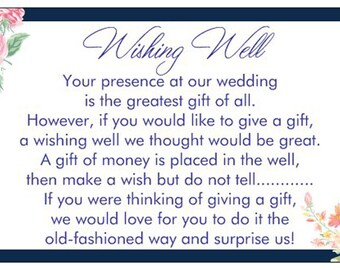 10 WISHING WELL CARDS Navy blue flowers vintage floral white print text for including with wedding invitations gif cards
