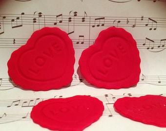 12 X Edible Love Hearts cupcake / cake topper