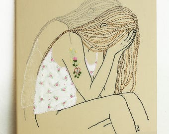 "Textil art, Embroidery ""Regret"""