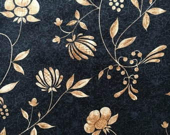 """Tan and Black Floral Printed Cotton, """"Pottery"""", #dr114"""
