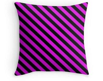 Pink Black Pillow, Pink Stripe Pillow, Pink Black Stripes Pillow, Pink Black Toss Pillow, Pink Black Bedding, Pink Black Bedroom, Pink Decor