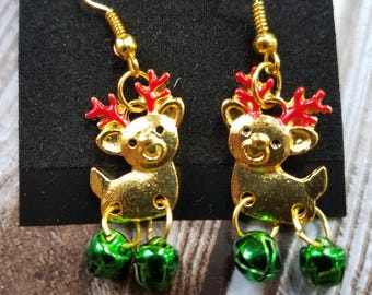 Jingle Bell Reindeer Earrings