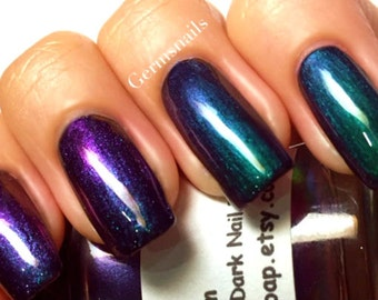 "Nail Polish - Multichrome Chameleon Chrome - Blue/Purple/Green/Copper Color Shifting - ""Lagoon"" -  Hand Blended - FREE U.S. SHIPPING"