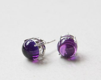 Genuine Amethyst and Sterling Silver Stud - Post Earrings (E122)