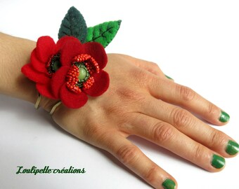 """Bracelet embroidered chic """"eternal flowers"""""""