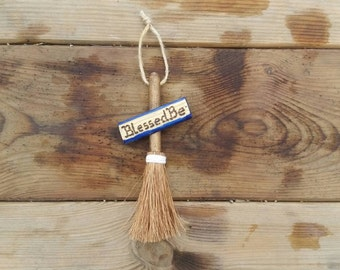 Blessed Be Witches broom, miniature altar besom, small witches broomstick, mini broom decor, hanging broomstick, pagan altar decor, yule dec