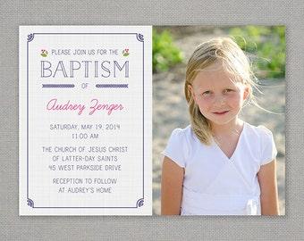 lds baptism invitation, girl baptism invitation, printable baptism announcement - modern floral announcement