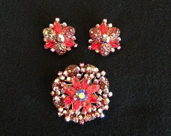 Vintage Signed BEAU JEWELS Red Rhinestone and Aurora Borealis Oversized Brooch and Clip Earrings Set