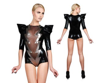 Lightning Bolt Bodysuit, Sexy Bodysuit, Festival Playsuit, EDC, David Bowie, Lady Gaga, Dance Costume, Stage Wear, Glam Rock, LENA QUIST