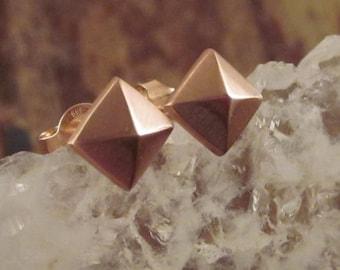 14K Rose Gold Earrings 14K Rose Gold Stud Earrings Rose Gold Pyramid Studs 14K Gold Earrings Rose Gold Jewelry Girlfriend Gift Womens Gift
