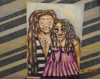Original Artist Trading Card Love Of African God and Goddess Colored Pencil and Pen Drawing