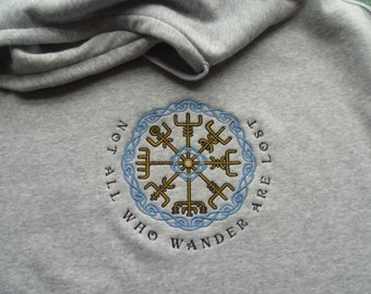 Viking Vegvisir Hoodie Grey Norse Compass Sweater Runes Safe travel Symbol Charm Talisman viking compass protection traveller Outdoors