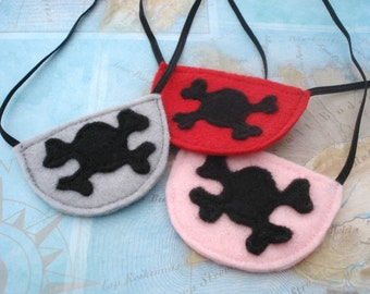 Pirate Eye Patch - Pirate Party - Pirate Costume Accessory- Felt Eye Patch - Pirate Party Favor - Skull and Cross Bone Patch