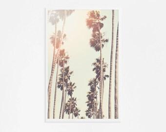 Palm Tree Print Santa Monica // Large Palm Tree Print // Los Angeles Photography // Retro Golden Yellow Oversize Art Palm Print