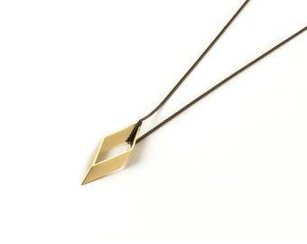 Vintage Brass Rhombus Necklace