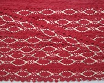 5 yards Ruby-Vanilla Crochet Lace, Lace Trim, Crochet Lace Trim, Red Lace, Lace Trim Ribbon, red trim, red lace trim, red ribbon, red lace