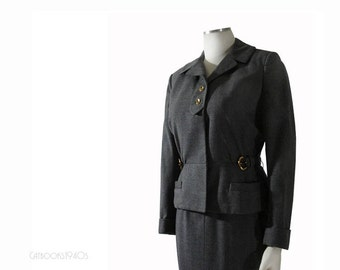 Vintage 50s Skirt Suit S // Very Mad Men! Gray Wool Hourglass Pencil Skirt Suit