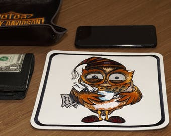 PU leather embroidered table tray Owl